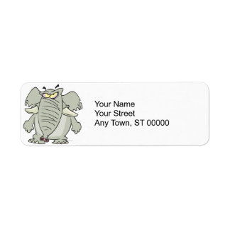 rogue mad angry elephant cartoon return address labels