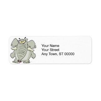 rogue mad angry elephant cartoon return address labels