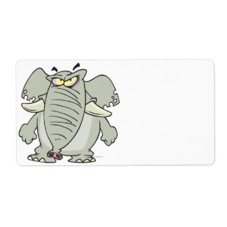 rogue mad angry elephant cartoon personalized shipping label