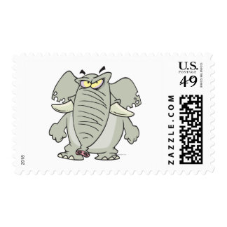 rogue mad angry elephant cartoon stamps