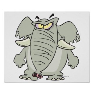 rogue mad angry elephant cartoon poster