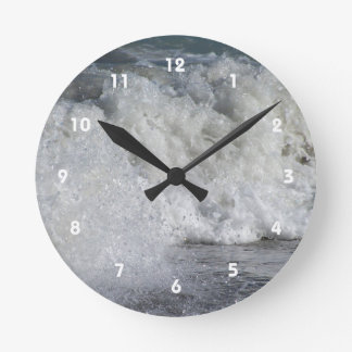 roiling waves on florida beach round wall clocks