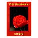 Roja de Feliz Cumpleaños - de Amapola de maíz Tarjeton