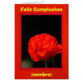 Roja de Feliz Cumpleaños - de Amapola de maíz Tarjeta De Felicitación