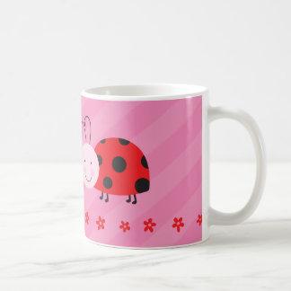 Roja taza personalizada pequeña mariquita