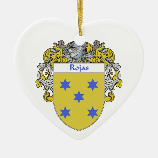 Rojas Coat of Arms/Family Crest Double-Sided Heart Ceramic Christmas Ornament
