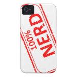 Rojo 100% del sello de goma del empollón en blanco iPhone 4 cobertura