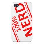 Rojo 100% del sello de goma del empollón en blanco iPhone 4 protector