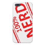 Rojo 100% del sello de goma del empollón en blanco iPhone 5 protectores