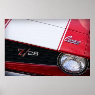 Rojo 1969 de Chevy Camaro Z/28 Póster