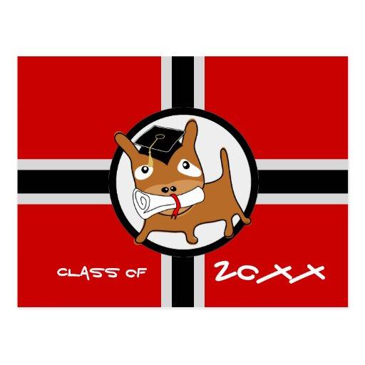 Rojo 1 del perrito de la postal de la invitación d