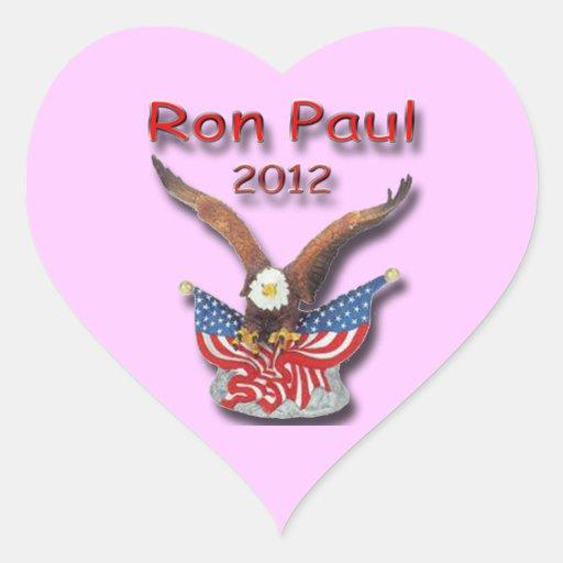 Rojo 2012 de Ron Paul Eagle Pegatina En Forma De Corazón