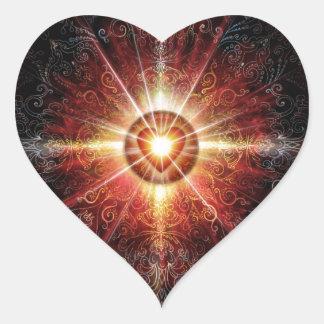 Rojo 2013 de la mandala del corazón pegatina en forma de corazón