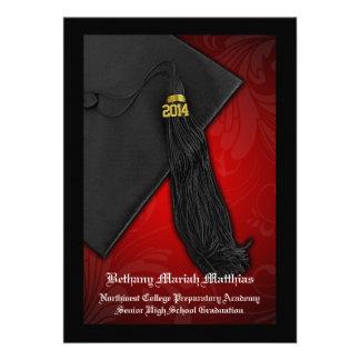 Rojo 2014 con la graduación negra del encanto de l