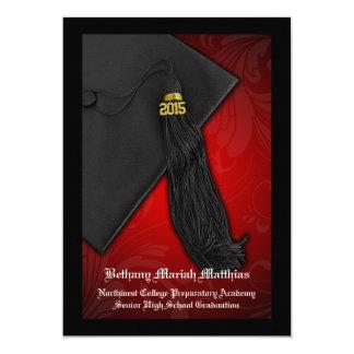 """Rojo 2015 con la graduación negra del encanto de invitación 5"""" x 7"""""""