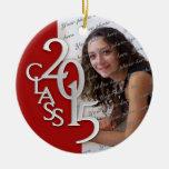 Rojo 2015 y plata de la foto de la graduación de adorno redondo de cerámica