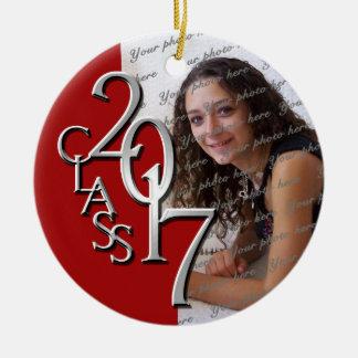 Rojo 2017 y plata de la foto de la graduación de adorno navideño redondo de cerámica