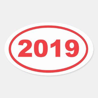 rojo 2019 pegatina ovalada