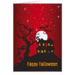 Rojo 2 de la casa encantada del feliz Halloween Felicitaciones