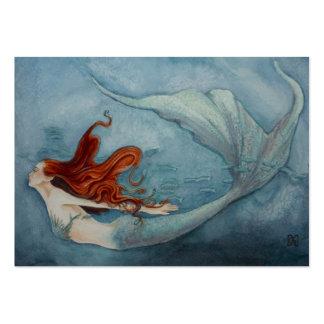 Rojo 2 de la etiqueta del regalo de la sirena tarjetas de visita grandes