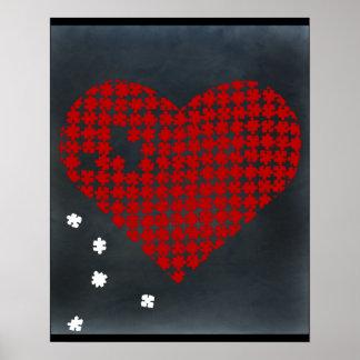 Rojo 2 del corazón del rompecabezas póster
