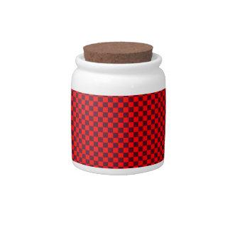 - Rojo 2 - escarlatas rojos y oscuros a cuadros Jarra Para Caramelo