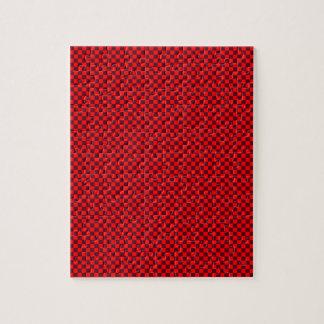 - Rojo 2 - escarlatas rojos y oscuros a cuadros Puzzle Con Fotos