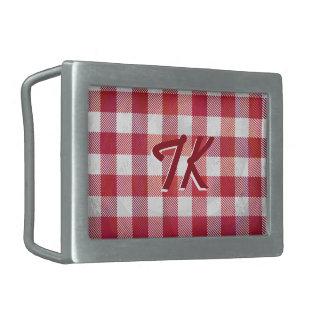 Rojo a cuadros y blanco de la tela escocesa hebilla cinturón rectangular