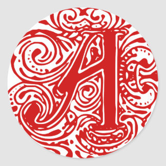 "Rojo ""A "" de Monarchia Pegatina Redonda"
