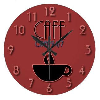 Rojo abierto 24|7 y azul del falso café de neón re relojes