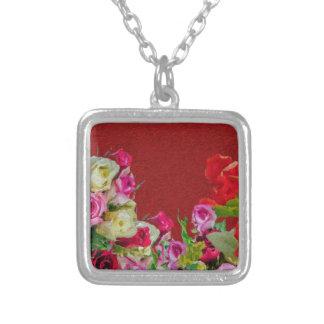 Rojo abstracto floral hermoso colgante cuadrado