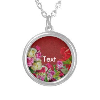 Rojo abstracto floral hermoso colgante redondo