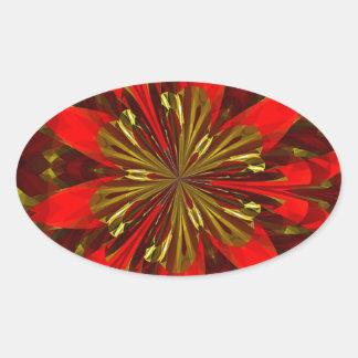 Rojo abstracto y oro pegatina ovalada