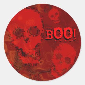 """Rojo """"ABUCHEO de los espectros del cráneo!"""" Etiquetas Redondas"""