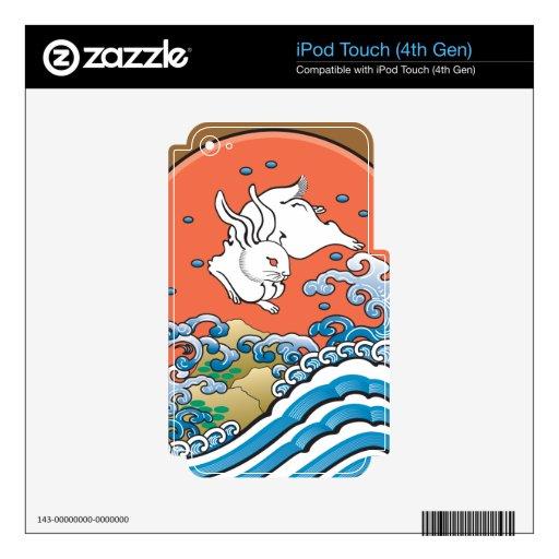Rojo afortunado del conejo iPod touch 4G skin