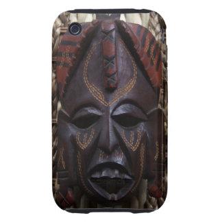 Rojo africano ritual tallado de madera tribal de B iPhone 3 Tough Cárcasas