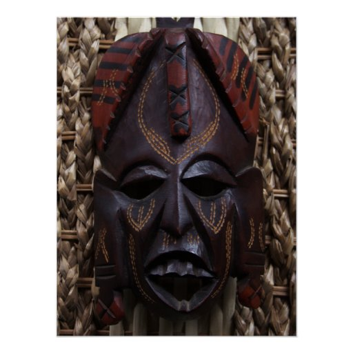 Rojo africano ritual tallado de madera tribal de póster