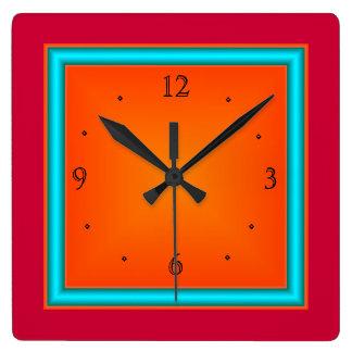 Rojo/aguamarina/reloj de Orange>Wall Reloj Cuadrado