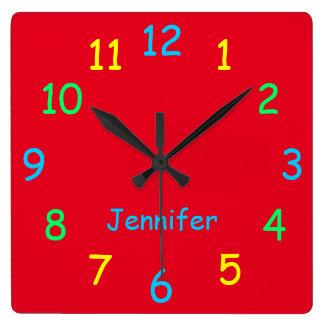 Rojo alegre de encargo personalizado colorido del reloj cuadrado