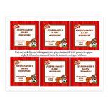 Rojo All-star de 6 etiquetas del favor Tarjetas Postales