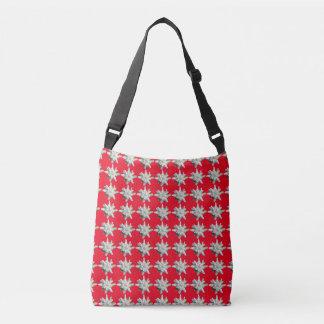 Rojo alpino suizo de la flor de los edelweiss de bolsa cruzada