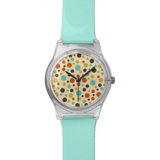 Rojo amarillo azul de los colores retros de los lu relojes de pulsera
