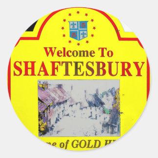 Rojo amarillo de Shaftesbury Pegatina Redonda