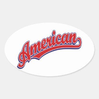 Rojo americano del logotipo de la escritura en calcomania de oval