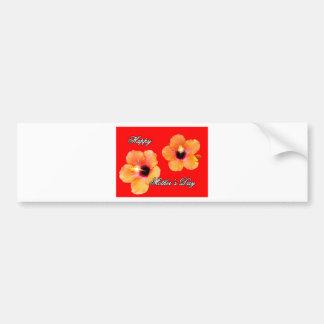Rojo anaranjado BG de madre del hibisco feliz del  Etiqueta De Parachoque