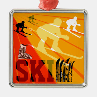 Rojo anaranjado del ornamento del esquí ornamentos para reyes magos
