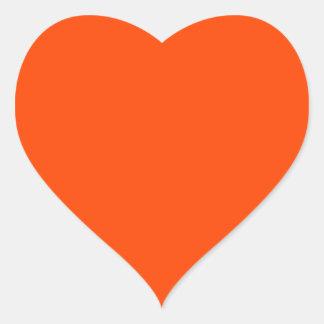 Rojo anaranjado pegatina en forma de corazón