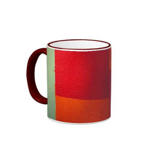 rojo anaranjado y taza de café abstracta verde