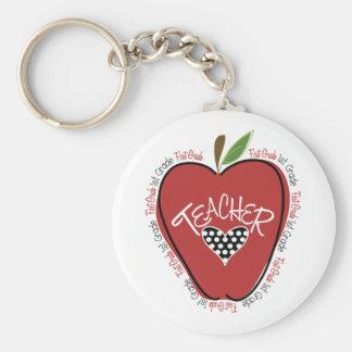 Rojo Apple del profesor del primer grado Llavero Redondo Tipo Pin