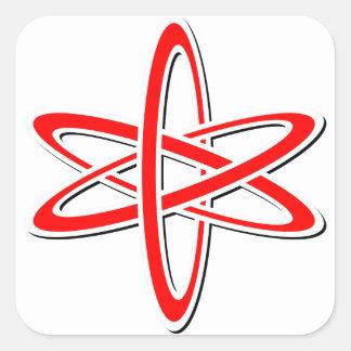 Rojo atómico pegatina cuadrada